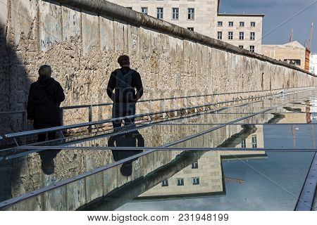 Bwelin, Germany - April 19, 2017: Tourists Visit The Topography Of Terror, An Outdoor And Indoor His