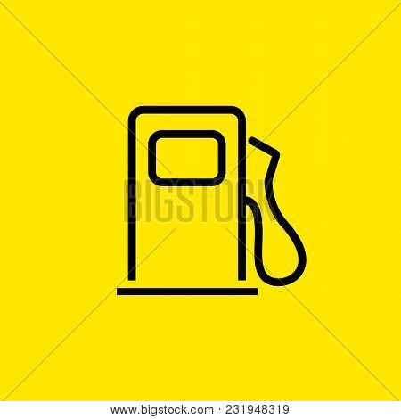 Line Icon Of Petrol Filling Station. Fuel, Gasoline, Gas Filling Station. Road Signs Concept. Can Be