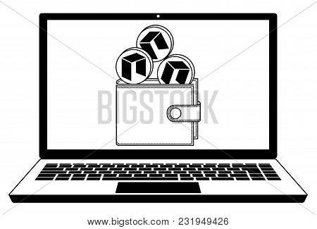 Neo Coins In The Wallet On The  Screen Laptop,neo Wallet In The  Screen Laptop, Design Concept Black