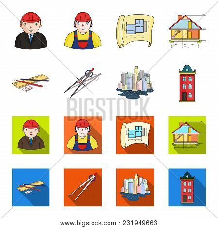 Drawing Accessories, Metropolis, House Model. Architecture Set Collection Icons In Cartoon, Flat Sty