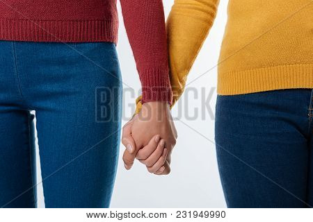 Real Friendship. Close Up Of Female Hands Holding Each Other While Showing Their Friendship