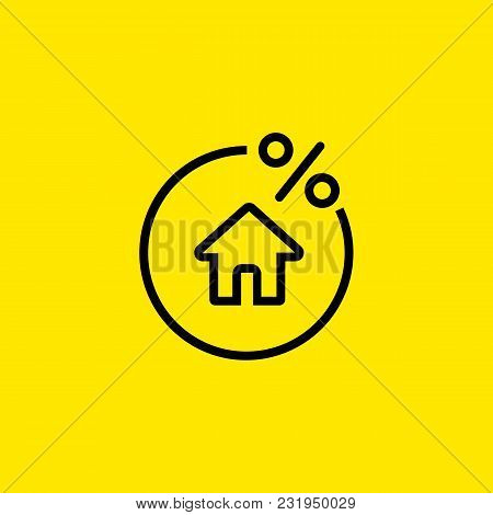 Icon Of Rate For Mortgage. Percent, House, Real Estate. Loan Concept. Can Be Used For Topics Like Ba