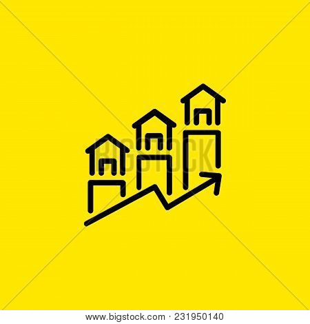 Icon Of Real Estate Forecast. Mortgage, Price, Statistics.market Concept. Can Be Used For Topics Lik