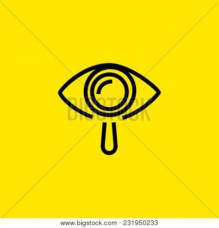 Icon Of Research In Ophthalmology. Human Eye, Magnifying Glass, Optometric. Vision Concept. Can Be U