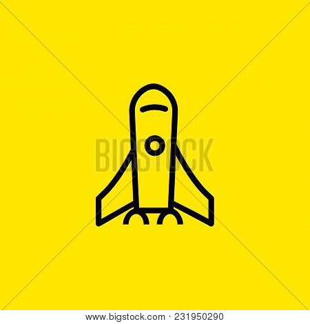 Icon Of Rocket Launch. Spaceflight, Vehicle, Aircraft, Thrust.   Science Concept. Can Be Used For To