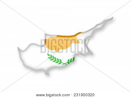 Cyprus Flag And Outline Of The Country On A White Background.