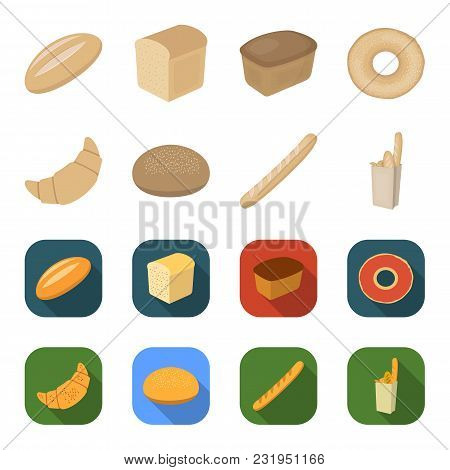 Rye Round Bread, A Croissant, A French Loaf, A Bag Of Bread.bread Set Collection Icons In Cartoon, F
