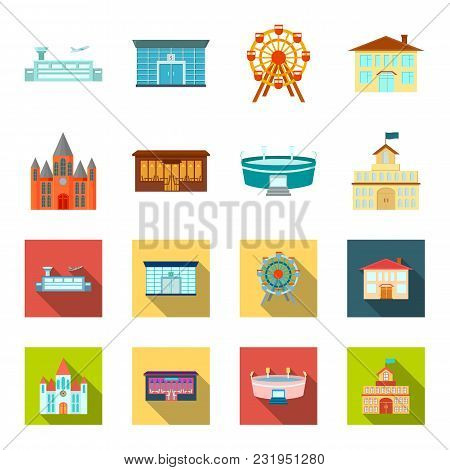 House Of Government, Stadium, Cafe, Church.building Set Collection Icons In Cartoon, Flat Style Vect