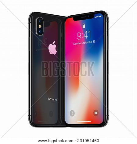 Varna, Bulgaria - January 23, 2018: Space Gray Turned Apple Iphone X Front Side And Iphone X Back Si
