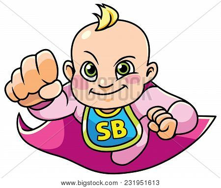 Full Length Illustration Of A Super Baby Girl Smiling While Flying With A Purple Cape Against White