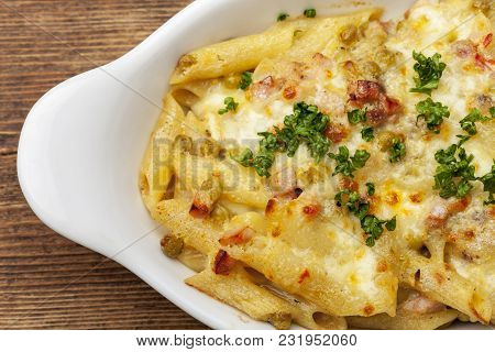 Closeup Of A Gratin Of Rigatoni Emiliana