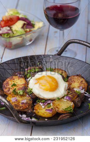Sunny Side Up Egg On Groestl With Wine