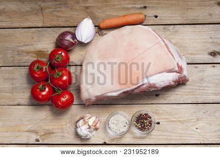 Overview Of Raw Pork Meat On Wood