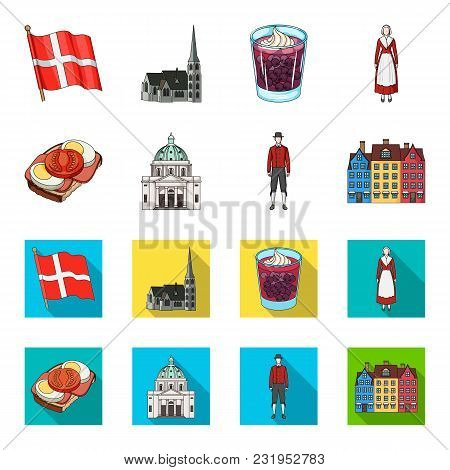 Denmark, History, Restaurant, And Other  Icon In Cartoon, Flat Style.sandwich, Food, Bread Icons In