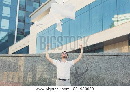 Celebrating Success. Excited Businessman Keeping Arms Raised And Expressing Positivity While Standin