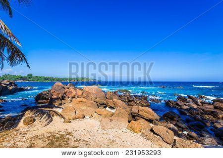 Ocean Seaside Of Wild Beautiful Stone Beach Of Sri Lanka