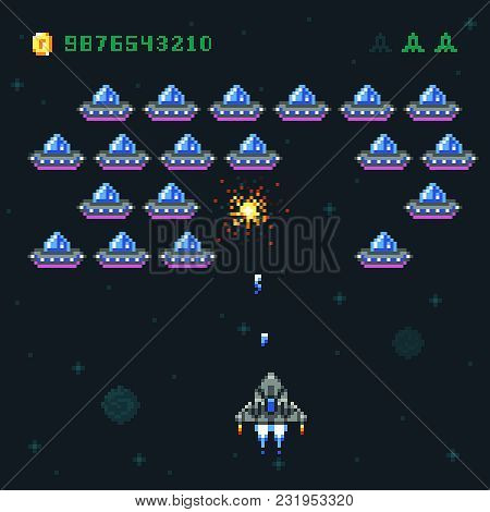 Retro Arcade Game Screen With Pixel Invaders And Spaceship. Space War Computer 8 Bit Old Vector Grap