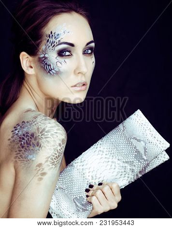 Fashion Portrait Of Pretty Young Woman With Creative Make Up Like A Snake Print, Fashion Victim With