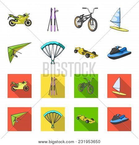 Hang Glider, Parachute, Racing Car, Water Scooter.extreme Sport Set Collection Icons In Cartoon, Fla