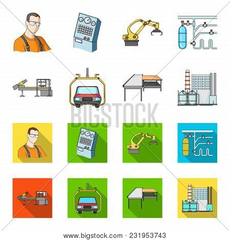 Automotive Industry And Other  Icon In Cartoon, Flat Style.new Technologies Icons In Set Collection.