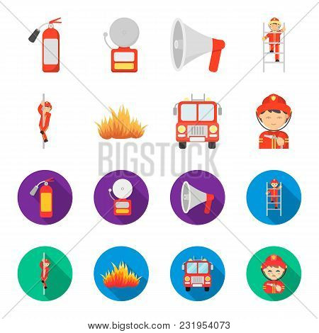 Fireman, Flame, Fire Truck. Fire Departmentset Set Collection Icons In Cartoon, Flat Style Vector Sy