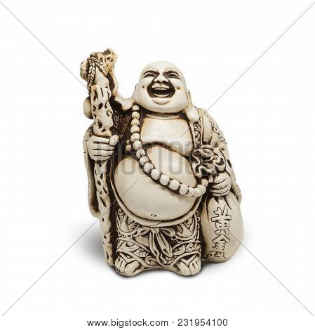 Buddha Decorative Figurine, Monk, Isolated On White Background. With Clipping Path
