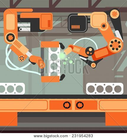 Manufacturing Assembly Conveyor Production Line With Robotic Arm. Heavy Industry Vector Concept. Man