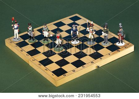 Tactical Formation Of Tin During The Napoleonic Wars Of 1812 On A Chessboard