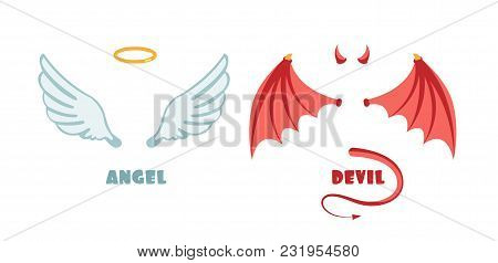 Nobody Angel And Devil Suit. Innocent And Mischief Vector Symbols. Angel And Demon, Devil Satan Illu