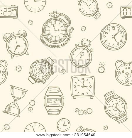 Vintage Hand Drawn Clocks And Watches. Time Vector Seamless Pattern. Illustration Of Clock Drawing,