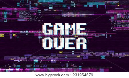 Game Over Fantastic Computer Background With Glitch Noise Retro Effect Vector Screen. Game Over Pixe