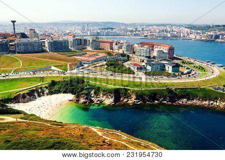 A Coruna, Spain. Aerial View Of A Coruna, Galicia, Spain Located On The Coast Of Atlantic Ocean. It