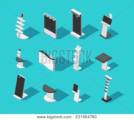 Isometric 3d Demonstration Booth Stands For Exhibition Isolated Vector Set. Trade Panel And Promo St