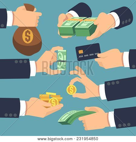 Businessman Hand Holding Money. Flat Icons For Loan, Paying And Cash Back Concept. Vector Money Cash