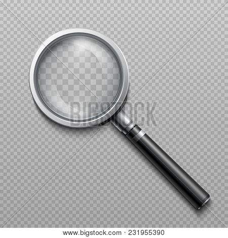 Vector Realistic Loupe, Magnifying Glass Scientific Tool Isolated. Magnification Instrument For Sear