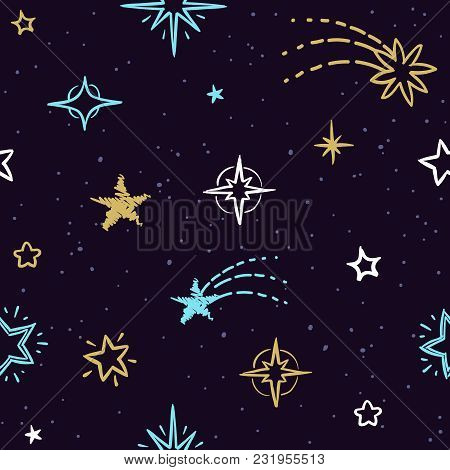 Sky Vector Seamless Pattern With Doodle Stars. Starry Background For Homemade Christmas Gift Packing