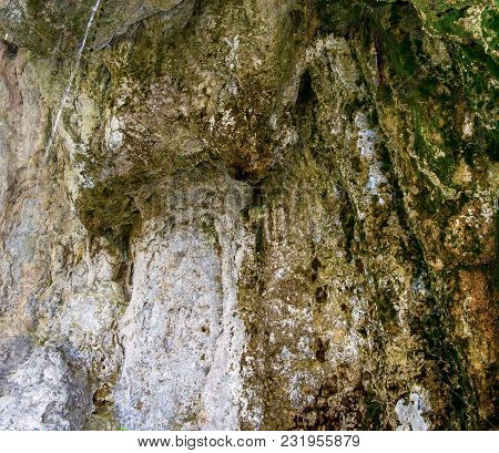 Photo Of Old Stone Texture With Moss In Cave