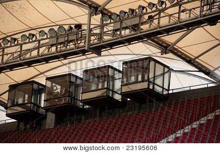 soccer stadium roof with commentary cabin