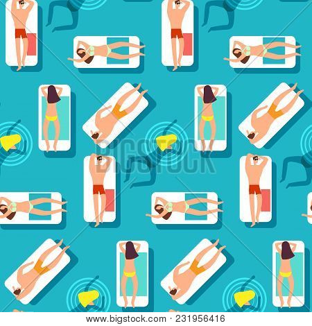 People On The Beach Swimming Sea. Summer Time Seamless Vector Pattern. Summer Sea Swim People Patter