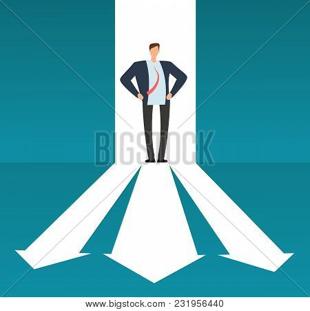 Businessman Looking At Pathway With Many Directions. Success Business Choice And Investment Risque V