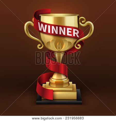 Champion Golden Trophy Cup With Red Winner Ribbon. Sports Championship Vector Concept. Golden Cup An