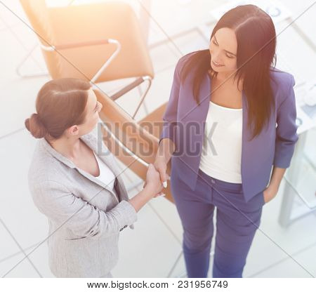 Business people making handshake in modern office.
