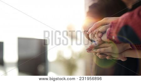 business background.close-up of folded hands together.