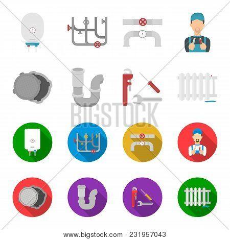 Sewage Hatch, Tool, Radiator.plumbing Set Collection Icons In Cartoon, Flat Style Vector Symbol Stoc