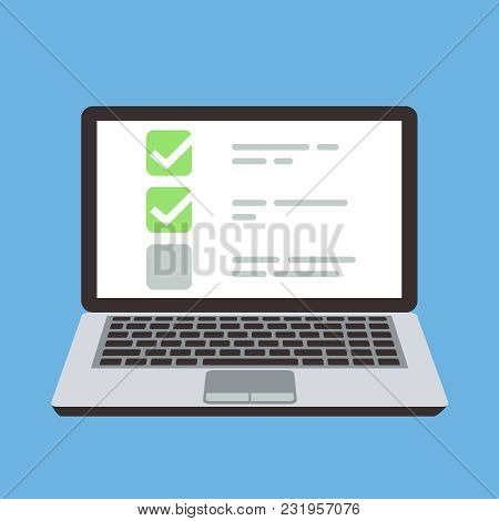 Computer Laptop With Online Quiz Form Checklist On Screen. Choice And Survey Vector Cartoon Concept.