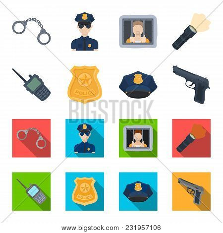 Radio, Police Officer's Badge, Uniform Cap, Pistol.police Set Collection Icons In Cartoon,flat Style