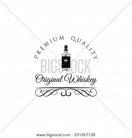 Whiskey Bottle Label Vintage Retro Border And Switls. Vector Illustration. Alcohol Menu Design, Alco