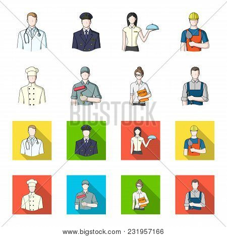 Cook, Painter, Teacher, Locksmith Mechanic.profession Set Collection Icons In Cartoon, Flat Style Ve