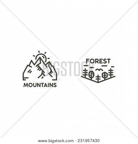 Vintage Linear Travel Badges. Camping Line Art Label Concept. Mountain Expedition Logo Design. Trave