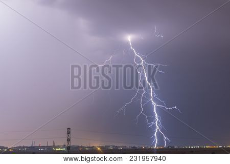Lightning Flash Over A City, Thunderstorm , Electricity Blast Storm, Thunderbolt In Sky